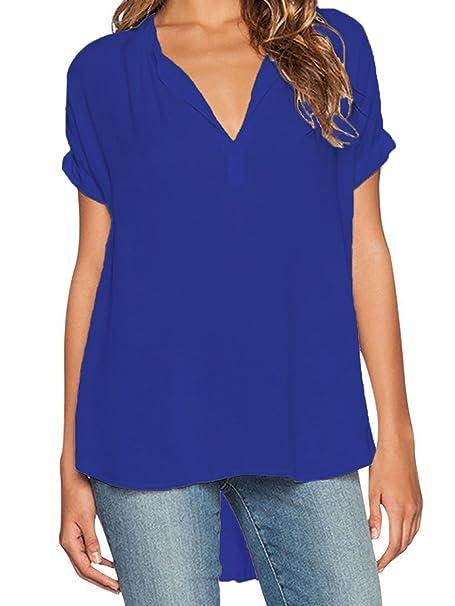 Elevesee Camisa Mujer Pulóver Chiffon Blouse Escote V Azul Manga Corta (Tamaño S, Azul
