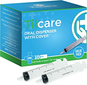 30ml Oral Dispenser Syringe with Cover 50 Pack by Tilcare - Luer Slip Sterile Plastic Medicine Food Droppers for Children, Pets & Adults – Latex-free Medication Dispenser - Large Feeding Tube Syringes