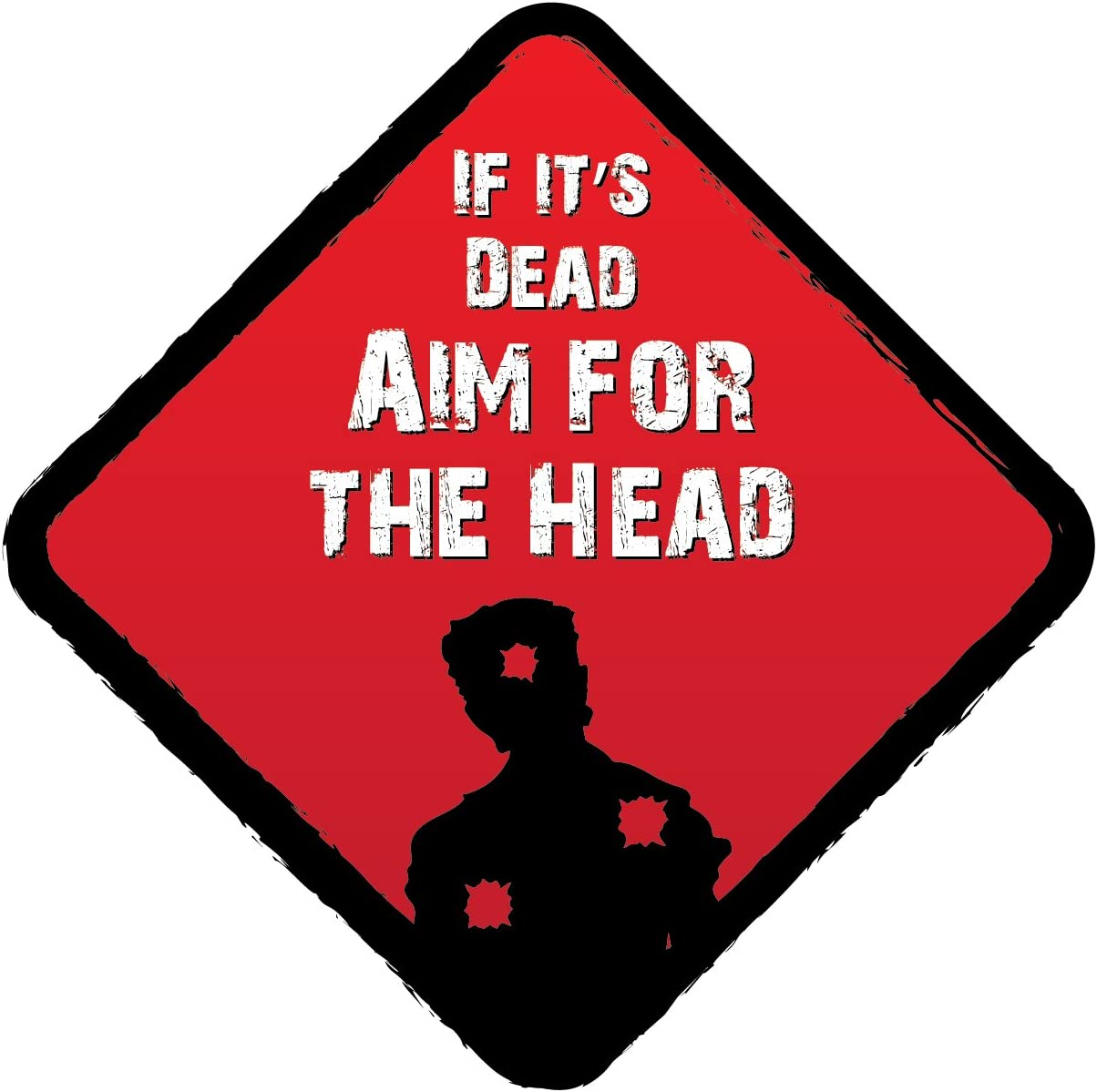 Landing Designs AIM FOR THE HEAD ZOMBIE NOVELTY VINYL CAR STICKERS