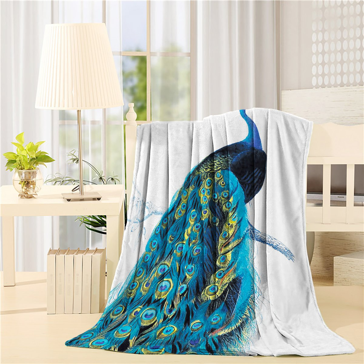 Flannel Fleece Bed Blanket 50 x 60 inch Peacock Throw Blanket Lightweight Cozy Plush Blanket for Bedroom Living Rooms Sofa Couch - Peacock Stand On Branch Wildlife Colorful Tropical Animals