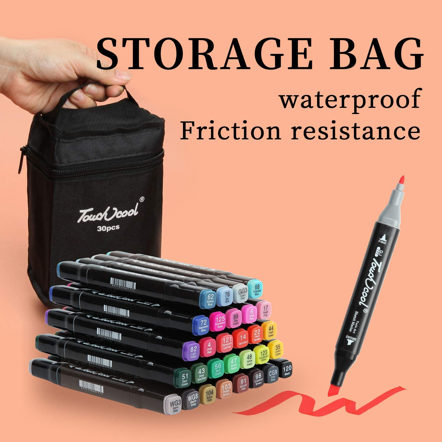 Marker Pens 30 Color Alcohol Graphic Design Pen Permanent Highlighter Markers With Carrying Bag for Drawing Sketching Painting Manga Design Scribbling Dual Tips Twin Touch Sketch Marker Set