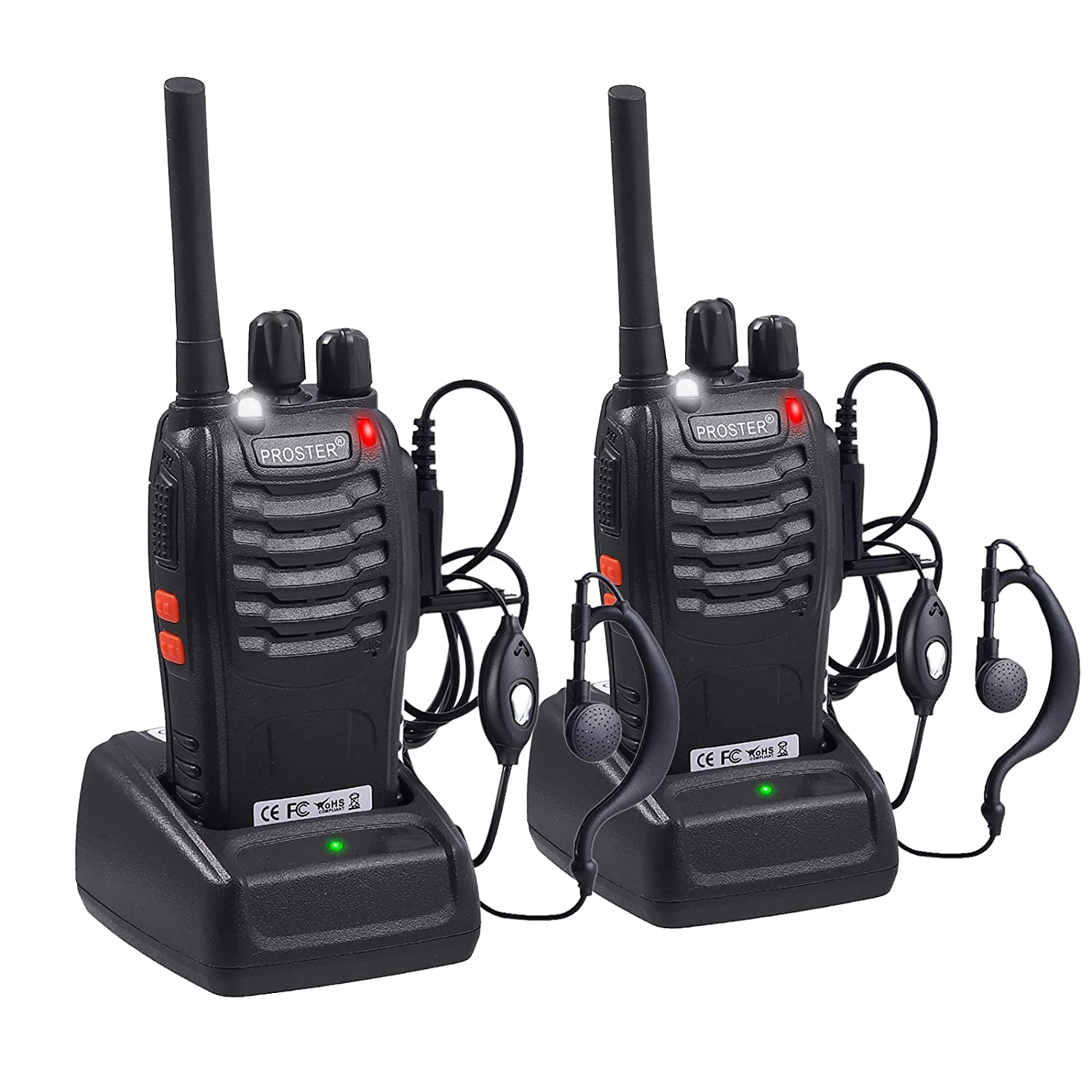 Proster Walkie Talkies 16 Channels Rechargeable Walky Talky with USB Charger Earpieces Walkie Talkies with Voice Prompt 1 Pair