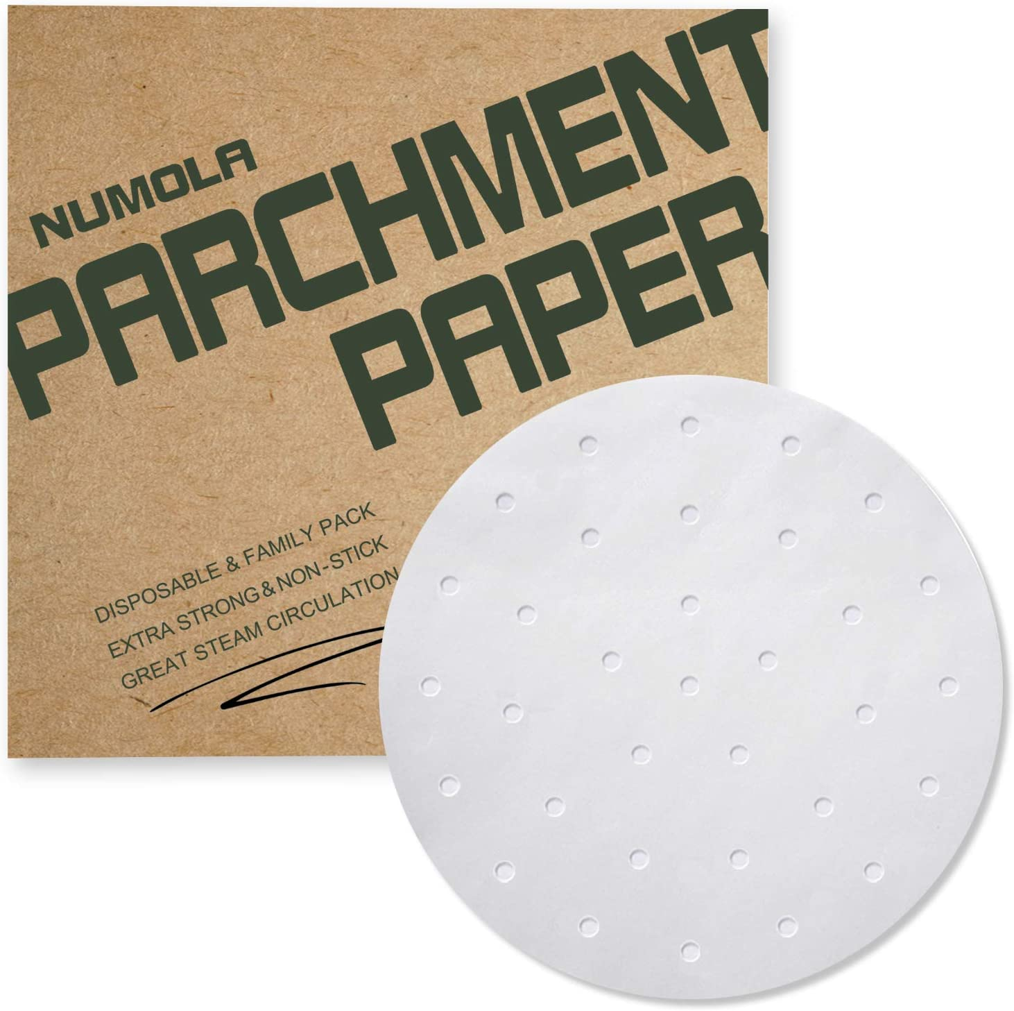 Numola 7 Inch Air Fryer Liners, 100 PCS Perforated Parchment Paper Compatible with COSORI, GoWISE USA, Instant Vortex, Ninja, Ultrean, Chefman, Innsky, Dash and More 3.4-3.7qt Air Fryers
