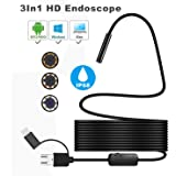 USB Borescope 3 in 1 Semi-rigid Type C Endoscope Inspection Camera IP68 Waterproof Snake Camera with 8 Adjustable LED for Android, Windows & Macbook OS Computer,16.5FT(5M) - Skybasic