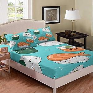 Erosebridal Sushi Fitted Sheet Deep Pocket for Boys, Kids Japanese-Style Bed Cover Full Size Kawaii Food Theme Bedding Set for Teens Girls Adult Room Decor, Cartoon Style Blue White Bed Set