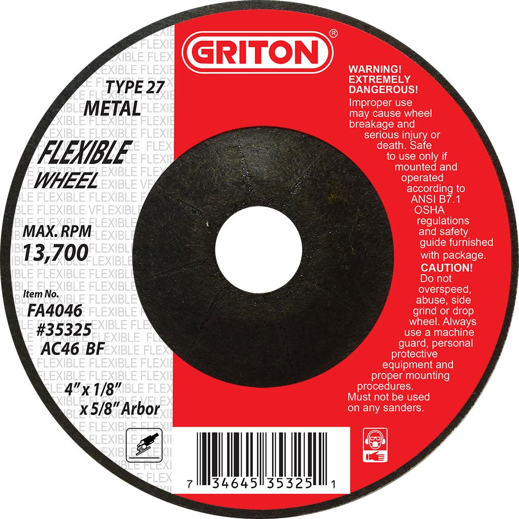 Griton FA4046 Type 27 Flexible Surface Preparation Wheel Used on Metal, Aluminum and Stainless Steel, Aluminum Oxide/Silicon Carbide, 13700 RPM, 4'' Diameter (Pack of 20)