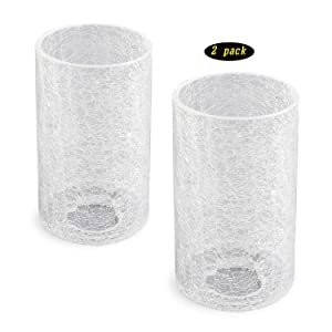 Giluta Cracked Glass Shades Cylinder Glass Shade Replacement with 1-5/8-inch Fitter, Modern Elegant Light Fixture Shade for Wall Sconce Pendant Light Chandelier, 2 Pack