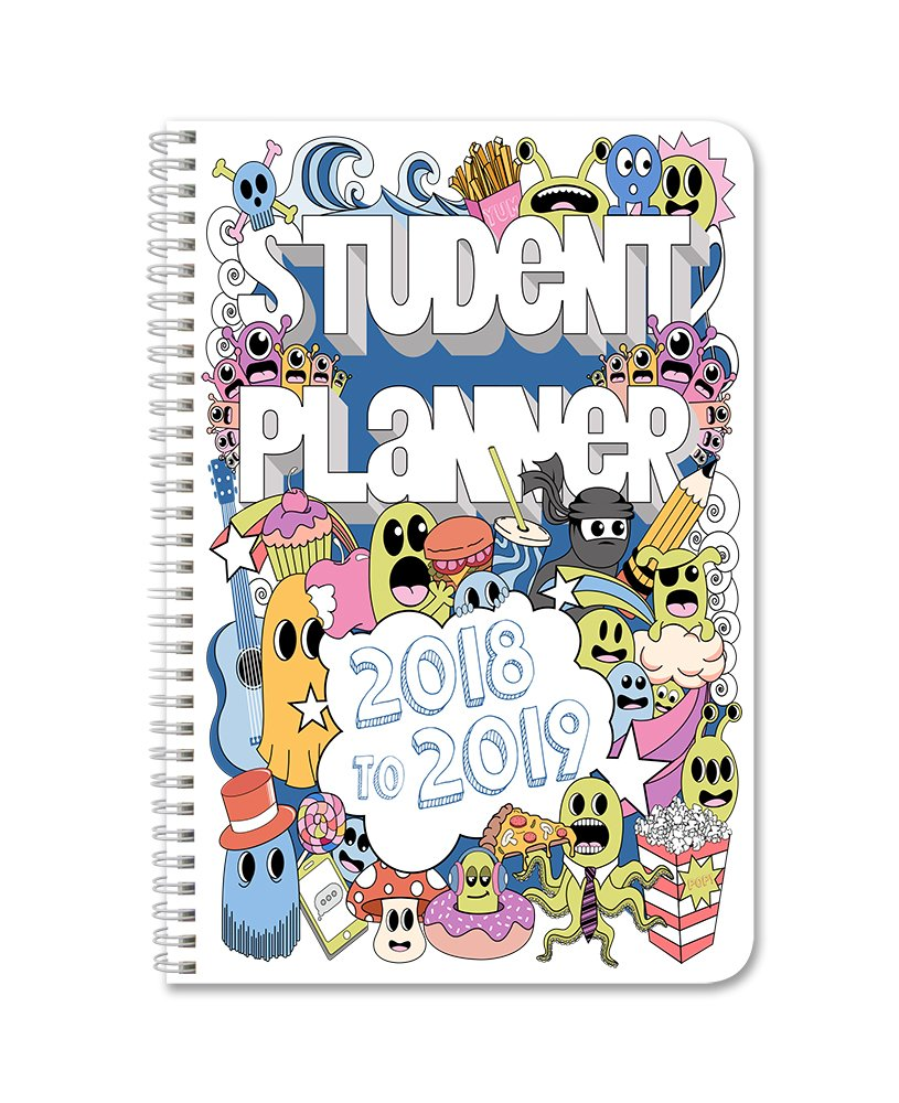 "BookFactory 2018-2019 Doodle Student Planner/Agenda/Organizer/Calendar (132 Pages) - 6"" X 9"" Wire-O (CAL-136-69CW-A(Doodle-Planner18-19))"