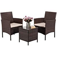 Outdoor Garden Tables and Chairs PE Rattan Wicker Chairs Desk for Indoor and Outdoor Porches, Decks and Balconies…
