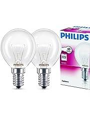2x Philips Backofenlampe E14 40W Tropfenform 45mm Durchmesser, temperaturfest bis 300°C (2 Stück)