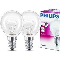 Philips E14 40W Druppelvorm 45mm diameter, temperatuurbestendig tot 300°C 2 Stück warmwit