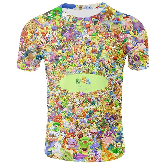 Lzh3D 3D Graphic O Neck Camiseta para Hombre Manga Corta Jumper Casual Camisa de Polo Algodón Poliéster Suave Secado Rapido Sudadera Pikachu XS-3XL: ...
