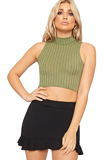 17be7580d7a7b1 WearAll Women's Ribbed Knitted Sleeveless Short Turtle Neck Vest Crop Top  at Amazon Women's Clothing store: