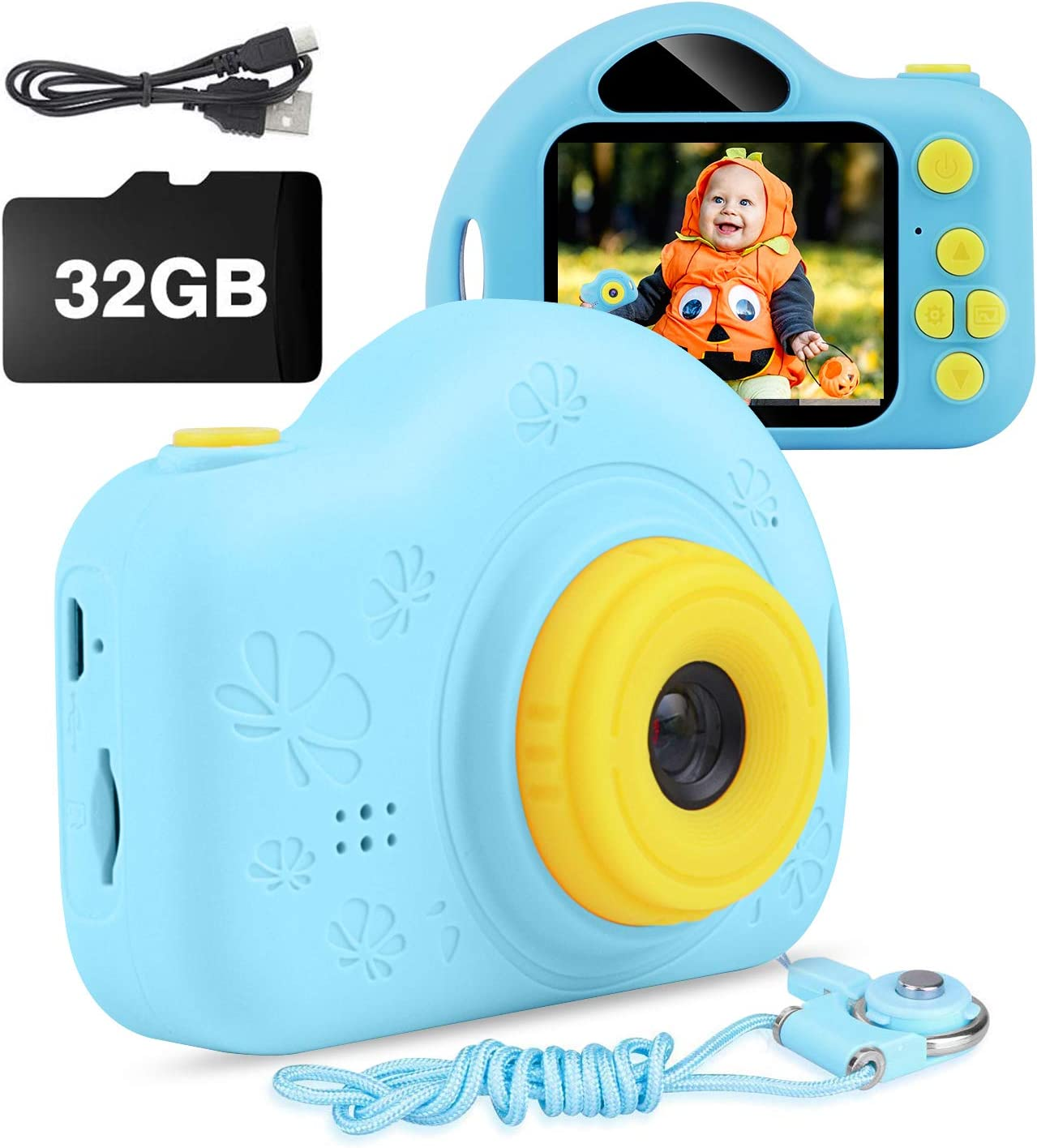 AIMASON Kids Camera, Digital Video Camera for Kids, Toddlers, Toy, Boys and Girls, Age 3 4 5 6 7 8 9 10 with 32GB SD Card Blue