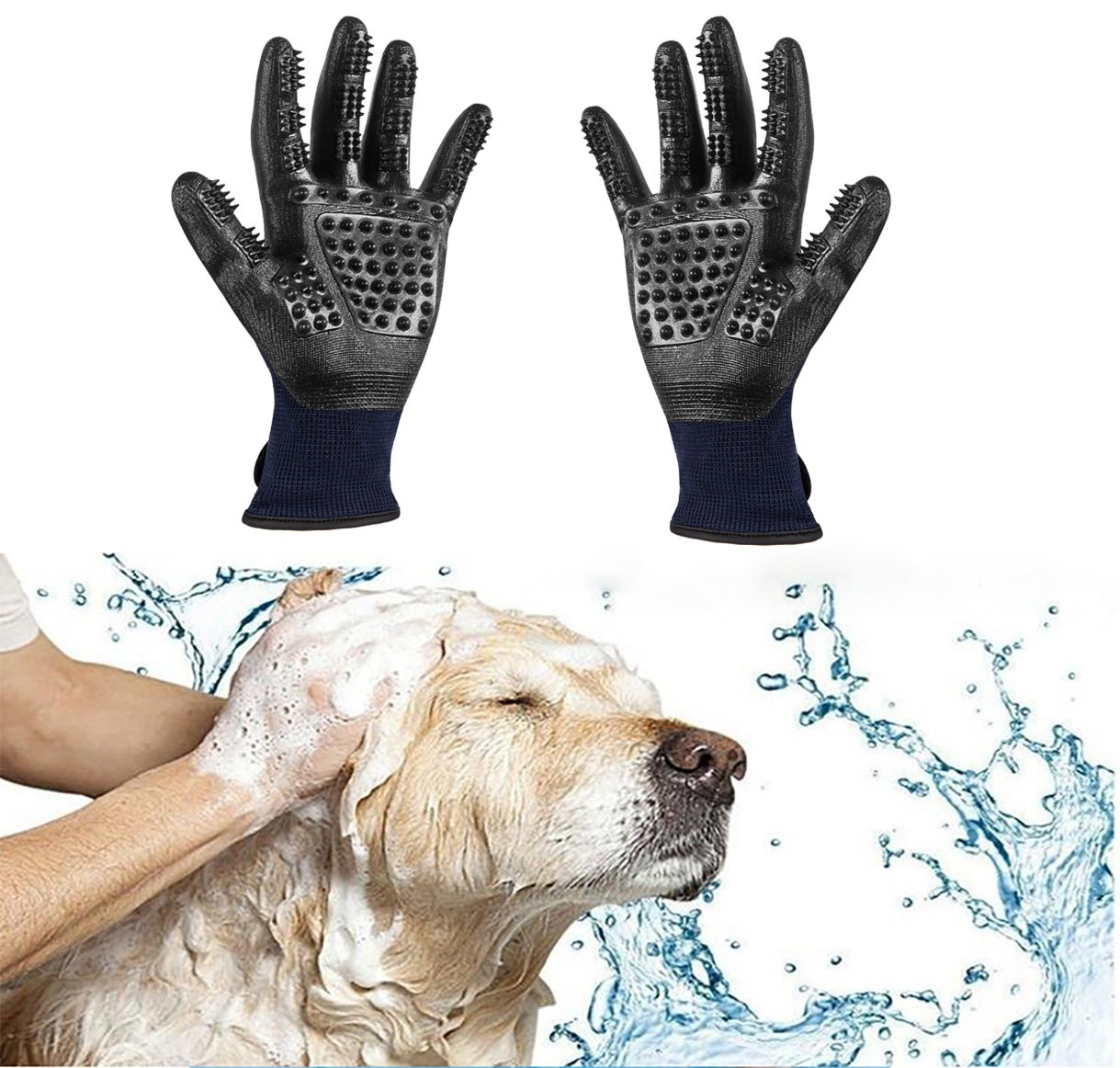 Trendcode Pet Deshedding Gloves - Efficient Pet Hair Remover, Grooming Mitt Brush Tool - Good Dogs Cats Horses Bathe Wash by Trendcode (Image #6)