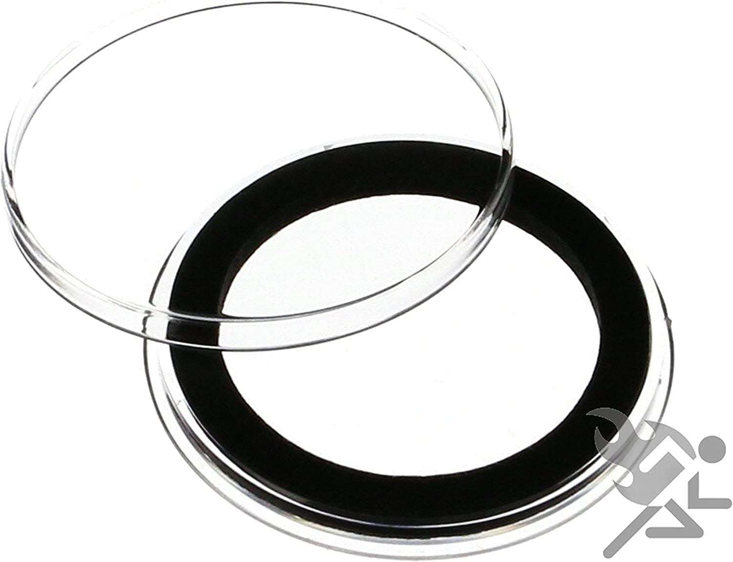 Black Capsule Tube /& 20 Air-Tite 37mm White Rings Silver Philharmonic Holder