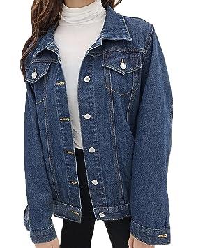 Runyue Mujer Chaqueta De Mezclilla Suelto Manga Larga Corto Chaquetas Jacket Vaquera Abrigo con Botones: Amazon.es: Deportes y aire libre