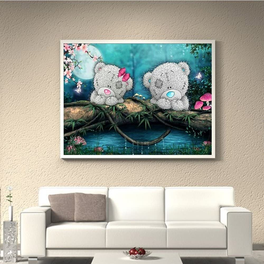 REYO 1 Cent Item DIY 5D Diamond Painting Romantic Bear Crystal Rhinestone Embroidery Wall Stickers Pictures Arts Craft for Home Wall Decor 30X40cm