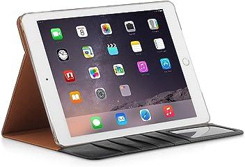 StilGut® série Vinur, Housse avec Fonction de Support et Compartiments pour Cartes pour iPad Air 2, en Noir