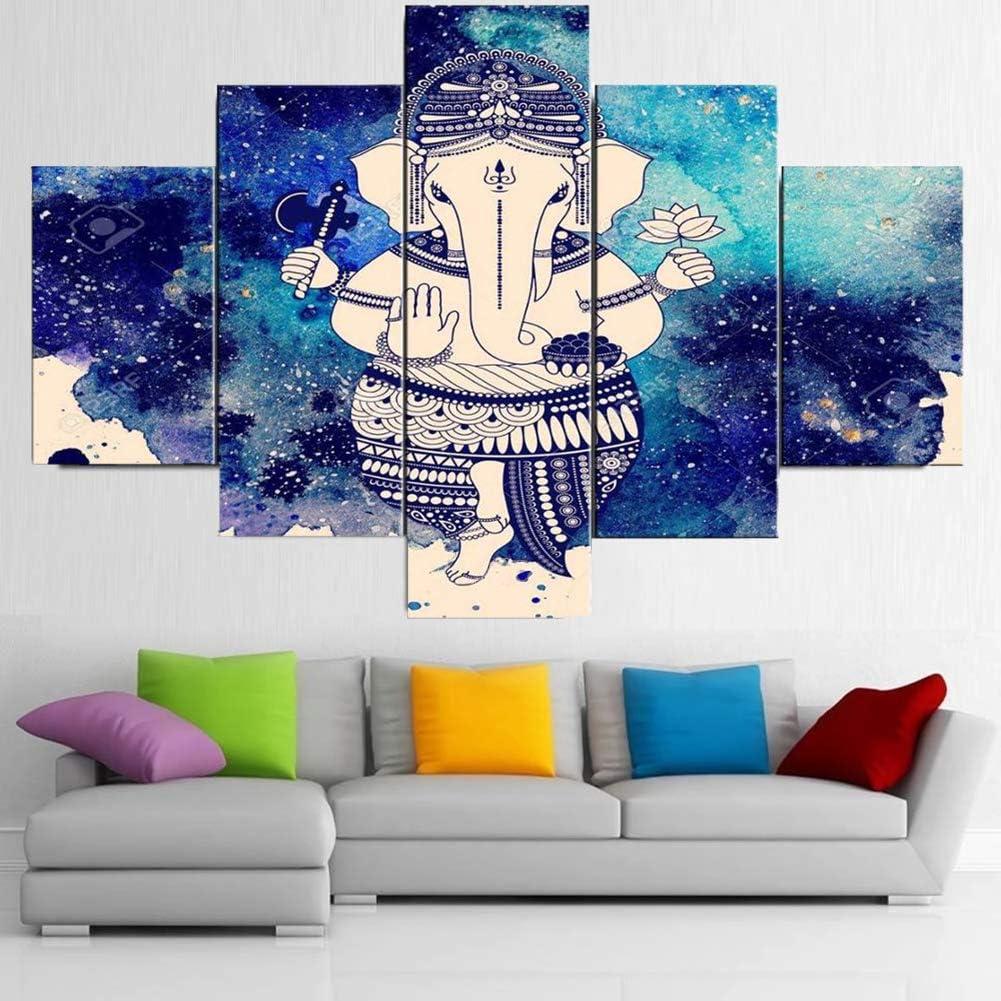 FJNS 5 Paneles Arte de la Pared Cuadros en Lienzo Arte India Tibetana Ganesha Poster HD Elephant Head God Pictures Enmarcado para el Dormitorio Oficina Decoraci/ón del hogar,A,20x30x220x40x220x50x1