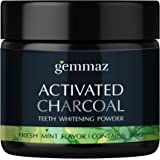 Natural Teeth Whitening Powder, Organic Coconut Activated Charcoal, Safe Tooth Whitener for Sensitive Teeth Gums, Food Grade, Fresh Mint Flavor by Gemmaz 30g
