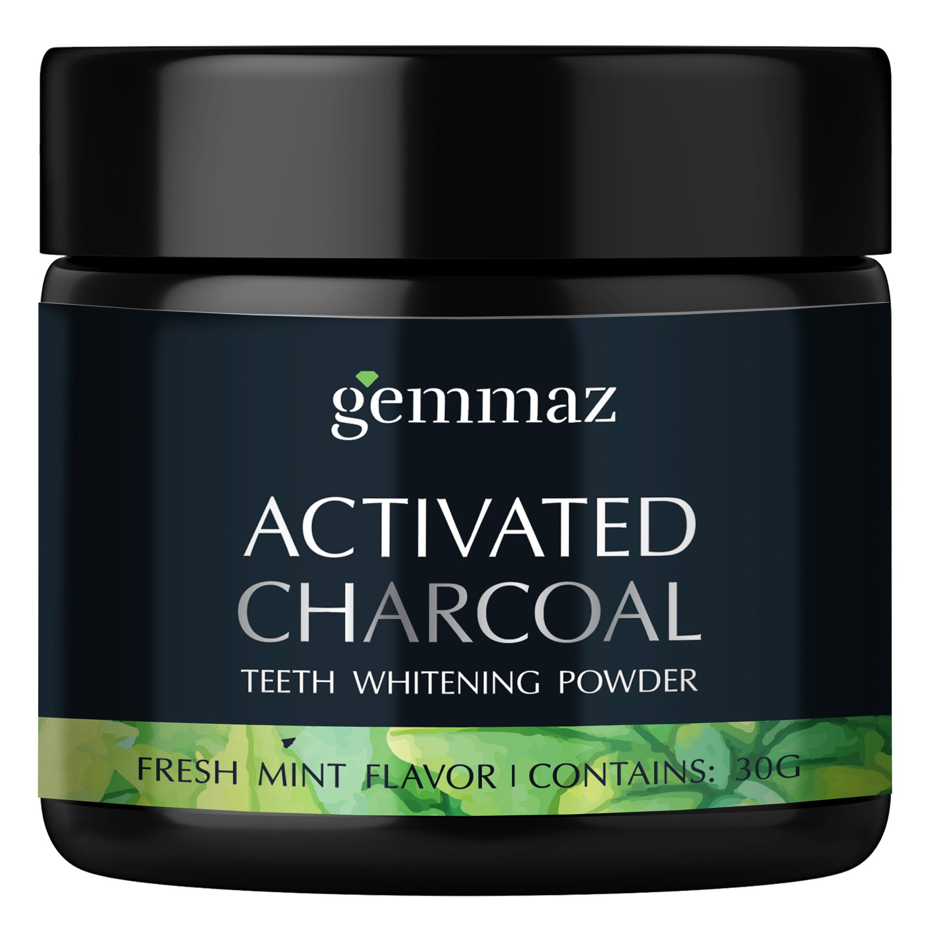 Charcoal Teeth Whitening Powder, Organic Coconut Activated Charcoal Teeth Whitening, Enamel Safe Teeth Whitener for Sensitive Teeth Gums, Fresh Mint Flavor by Gemmaz (30g)