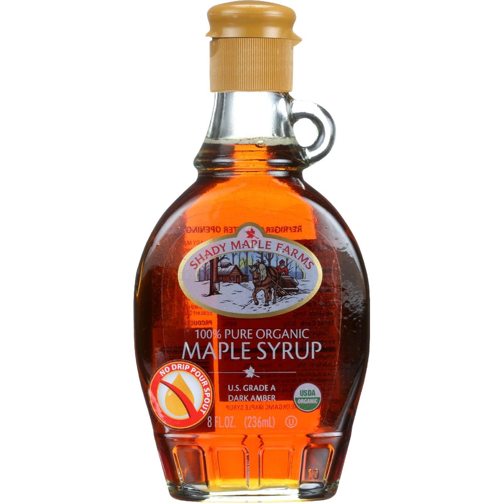 Shady Maple Farms Maple Syrup - Organic - Grade A - Dark - 8.0 oz - Case of 12 - 100% Pure