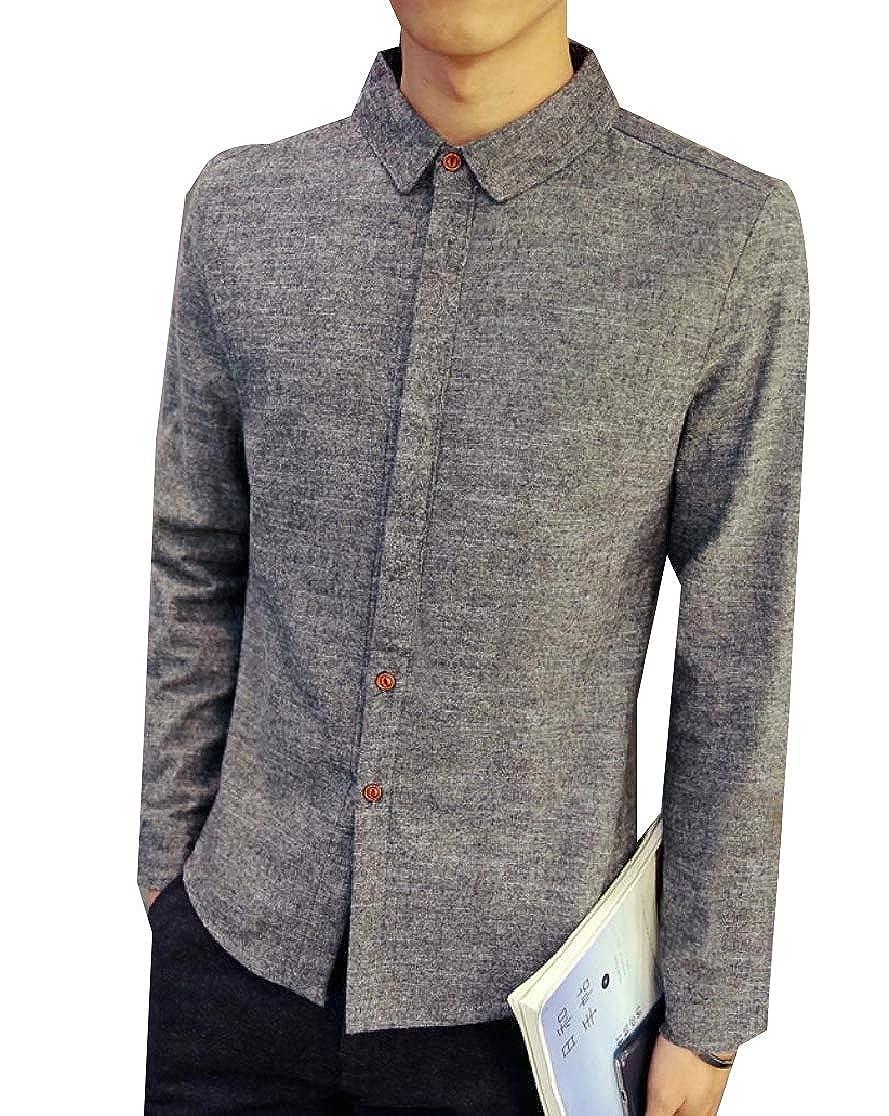 Comaba Men Thicken Warm Button-Up Long Sleeve Skinny Fleece Western Shirt