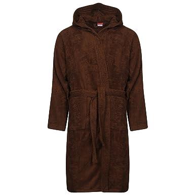 b1a109f7f9 WKDS® Men 100% Cotton Chocolate Terry Towel Bathrobe Hooded Shawl Collar  Dressing Gown Bath Robe  Amazon.co.uk  Clothing