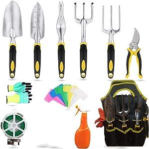 Yafei Garden Tools Set,11Piece Aluminum Hand Tool Kit, Garden Canvas Apron with Storage Pocket, Outdoor Tool, Heavy Duty Gardening Work Set with Ergonomic Handle, Gardening Tools for Women Men
