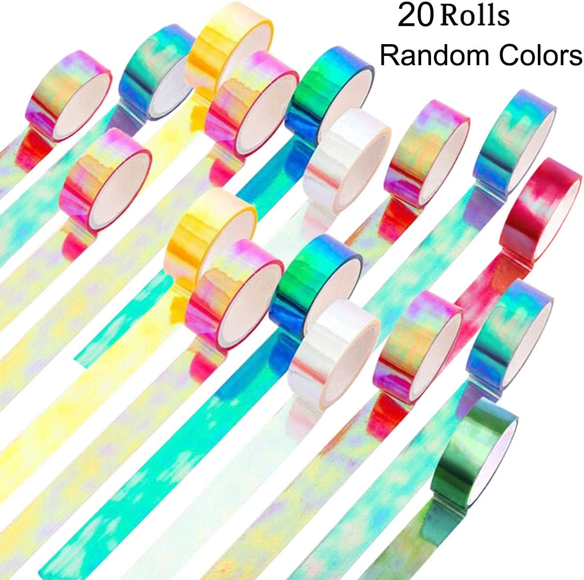 Holographic Colored Masking Tape Set, KISSBUTY 20 Rolls Rainbow Masking Tapes Translucent Labelling Tapes Decorative Waterproof Adhesive Iridescent Graphic Art Tape for Arts DIY Office Supplies
