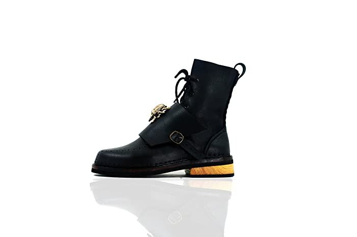 Amazon.com  The Invictus - The Shoemaker Handmade Hand-Sewn Leather Cowhide  High Boots Shoes Men Women Unisex Unique Black  Handmade f23a7359c0