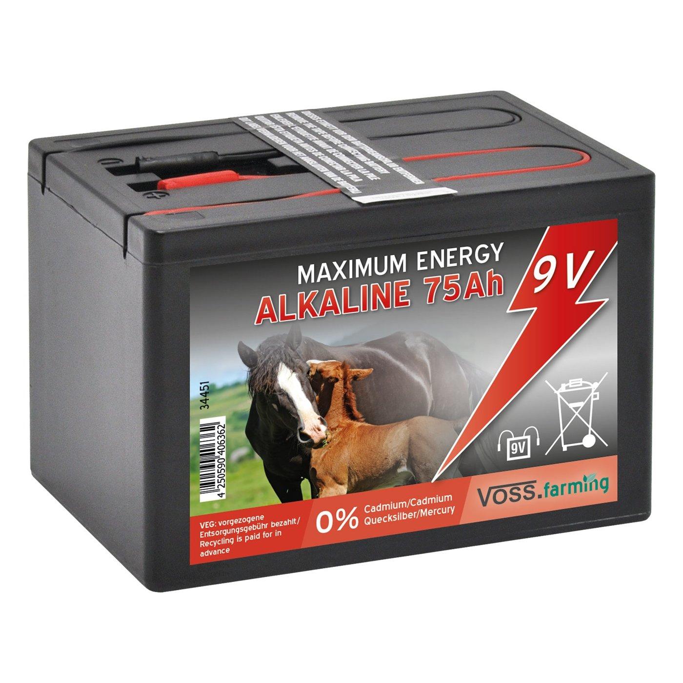 Batterie sè che VOSS.farming Alcaline 75 Ah 9V pour clô ture é lectrique - petit modè le