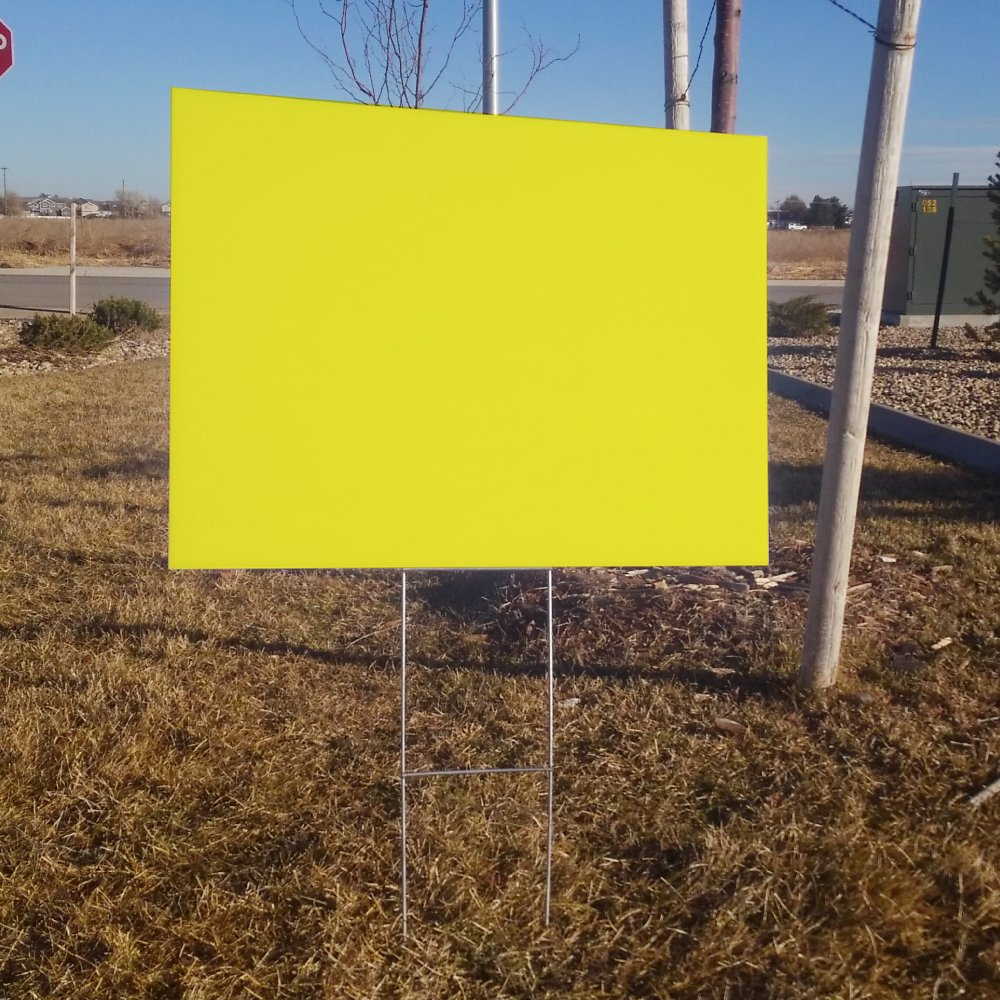 10 quantity blank yellow yard signs 18x24 with h stakes for garage sale signs for rent open house estate sale now hiring or political lawn sign