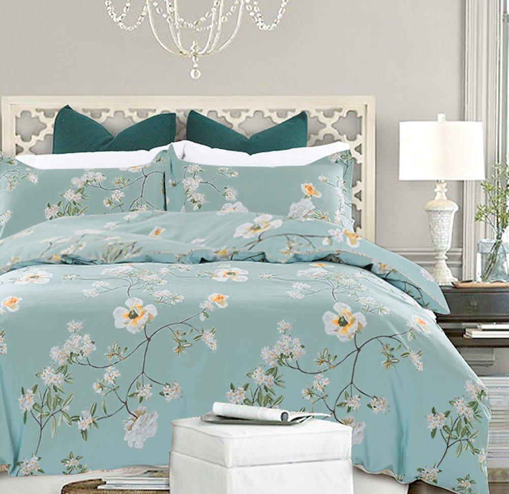 NANKO Bedding Duvet Cover Set Queen, 3 Pieces – 800-Thread Floral Hypoallergenic Microfiber Down Comforter Quite Cover Zipper & Tie for Women & Men's Bedroom, Luxury Guestroom Deco -Teal/Green by NANKO