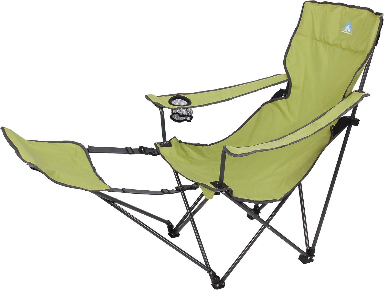 10T Outdoor Equipment Joe Camping Quickfold Plus Beechnut Plegable Silla de jardín con reposapiés y Soporte para Bebidas, Verde y Gris, 1 Persona
