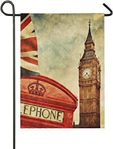 AKIOG Garden Flag Monogram Telephone Booth UK British Flag Garden Flags USA Vertical Double Sided Quote House Yard Flag Banner Holiday Seasonal Outdoor Decoration Flag 12 x 18 Inch.