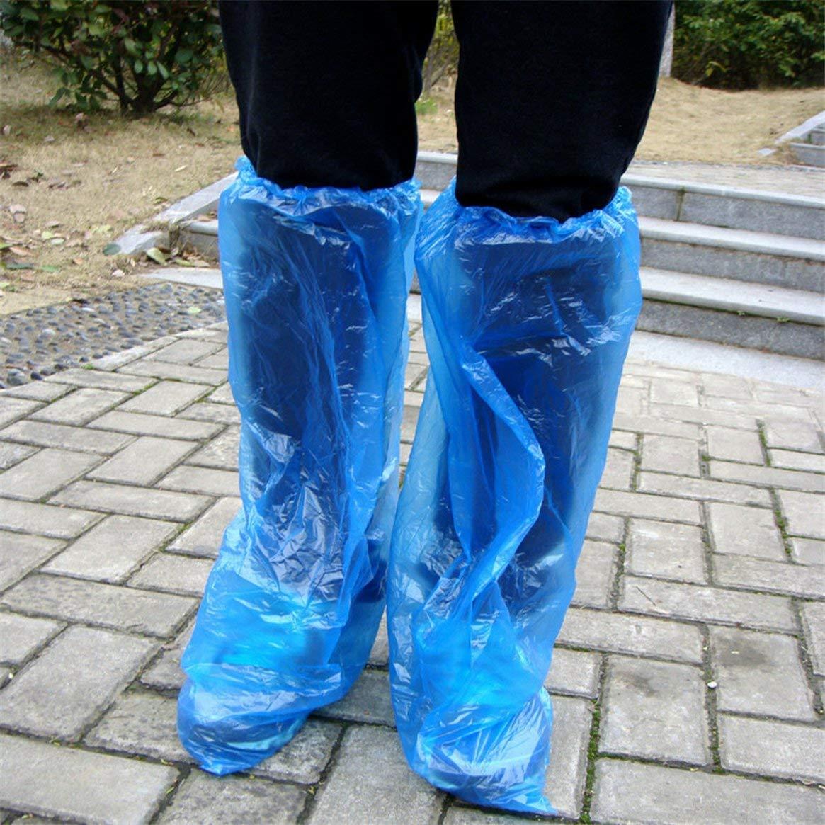 Bleu Delicacydex Couvre-chaussures jetables bleu Chaussures de pluie et bottes couvrent un couvre-chaussure long en plastique imperm/éable clair Couvre-chaussure antid/érapante