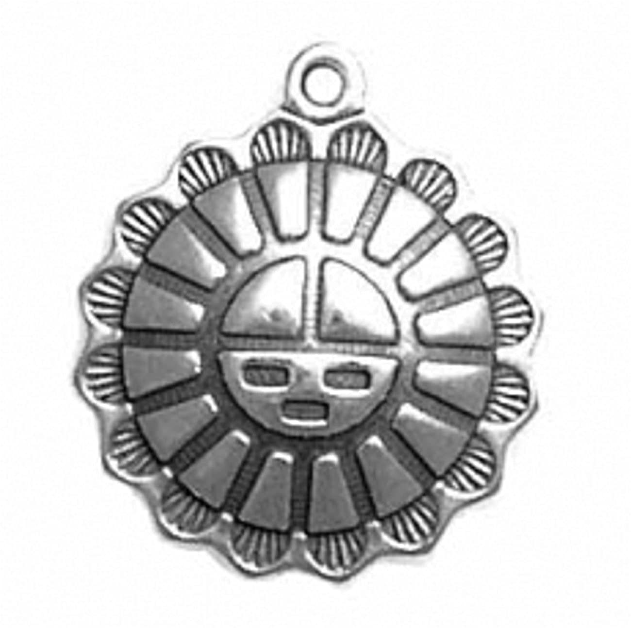 Sterling Silver Girls .8mm Box Chain Tribal Aztec Mexican Sun Face Pendant Necklace