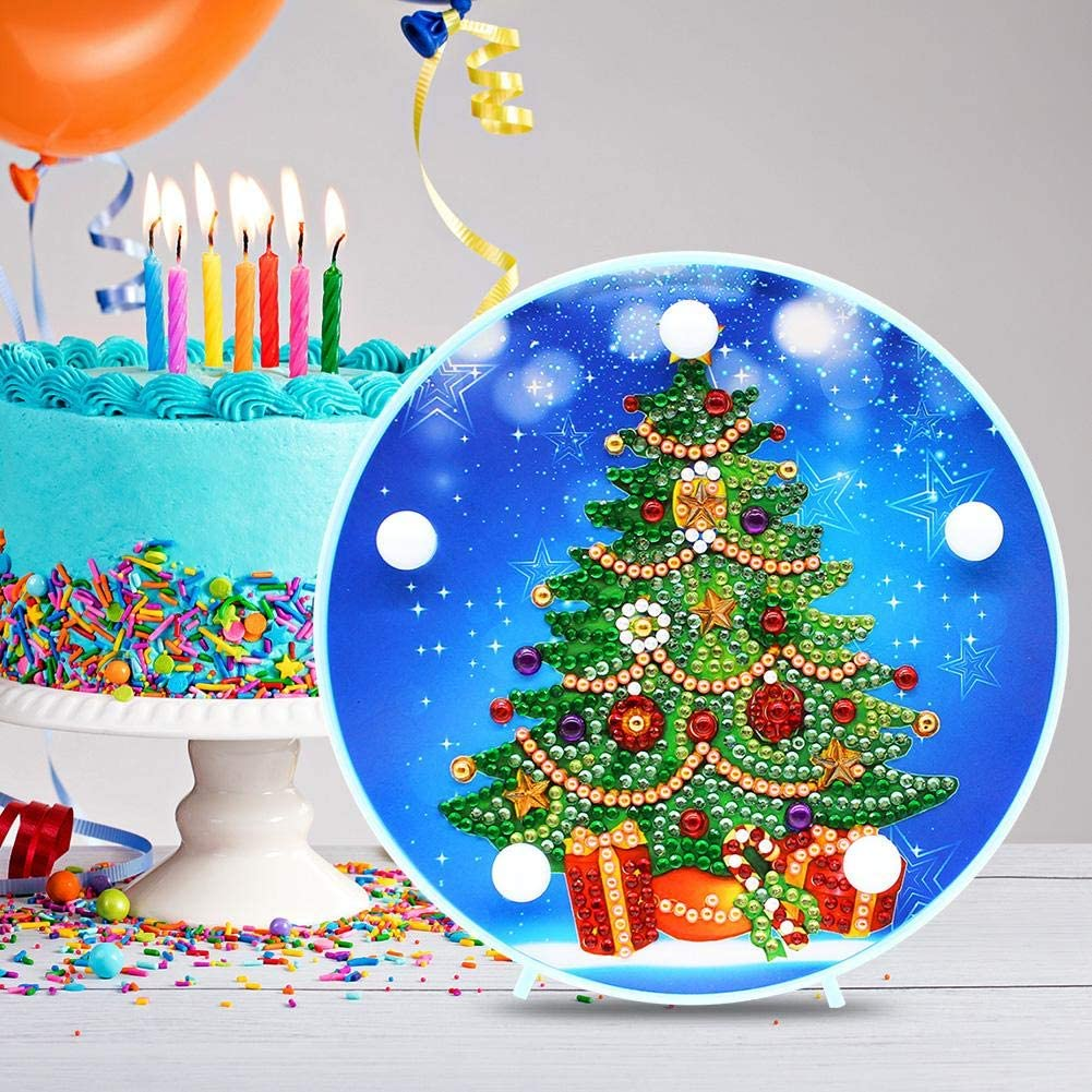 Domybest Weihnachtsbaum DIY 5D Diamond Painting Komplett mit LED-Lampe warmwei/ß Nachtlicht Kinder Tischlampe batteriebetrieben dekorative Lampe f/ür Schlafzimmer Wohnzimmer