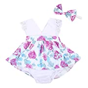 Emmababy Baby Girl Clothes Floral Cotton Romper Skirt Bodysuit Jumpsuit Outfit Dress with Headband (12~18months, White)