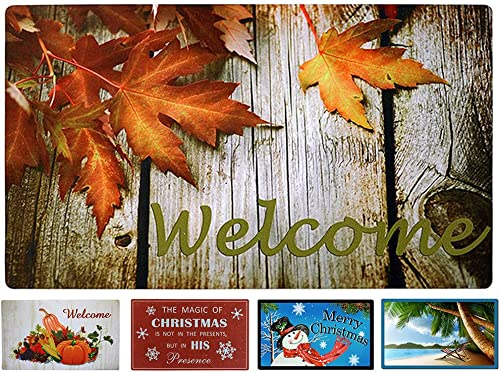 WHY Decor Welcome Doormat Maple Leaves Print Front Door Mat Fall Doormats Low Profile Door Mat Garage Rug Non Slip Doormat Rubber Backing Door Mat Entrance Rug Shoe Scraper Door Mat Indoor