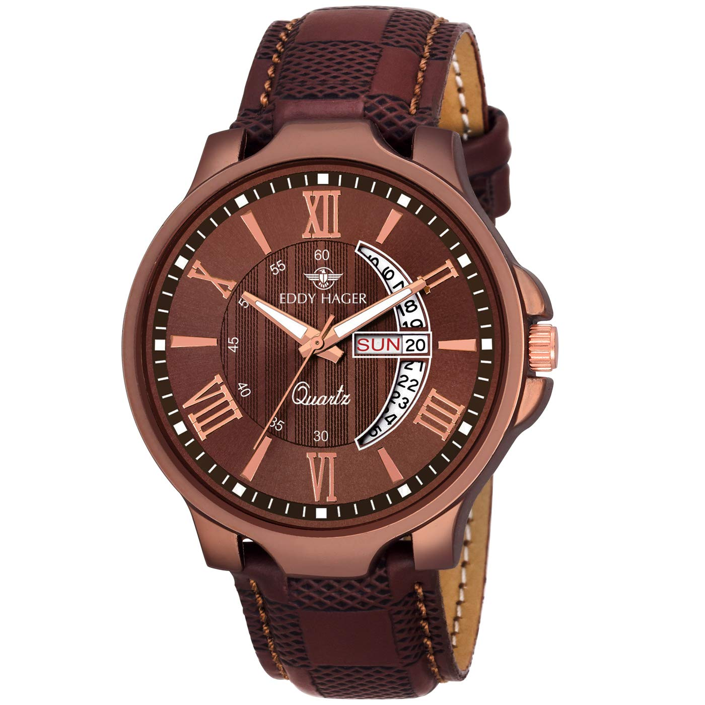 Eddy Hager Brown Day & Date Men's Watch EH-153-BR product image