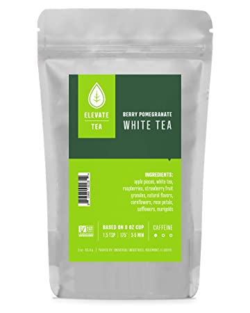 Elevate Tea BERRY POMEGRANATE WHITE TEA, Loose Leaf Tea Blend, 30 servings, 3 Ounce Pouch,...