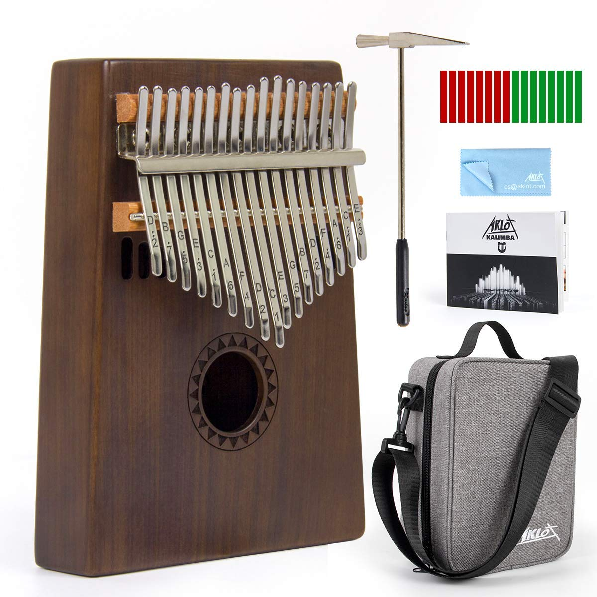 AKLOT Kalimba 17 Key, Solid Wood Thumb Piano Note Carved Starter Finger Piano with Kalimba Case Tune Hammer Study Booklet Stickers
