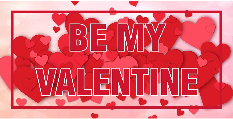 Red Easy Hang Sign-Made in USA Includes Zip Ties Mesh Wind Resistant 4X12 Foot HPB CUSTOM|Be My Valentine Vinyl Banner