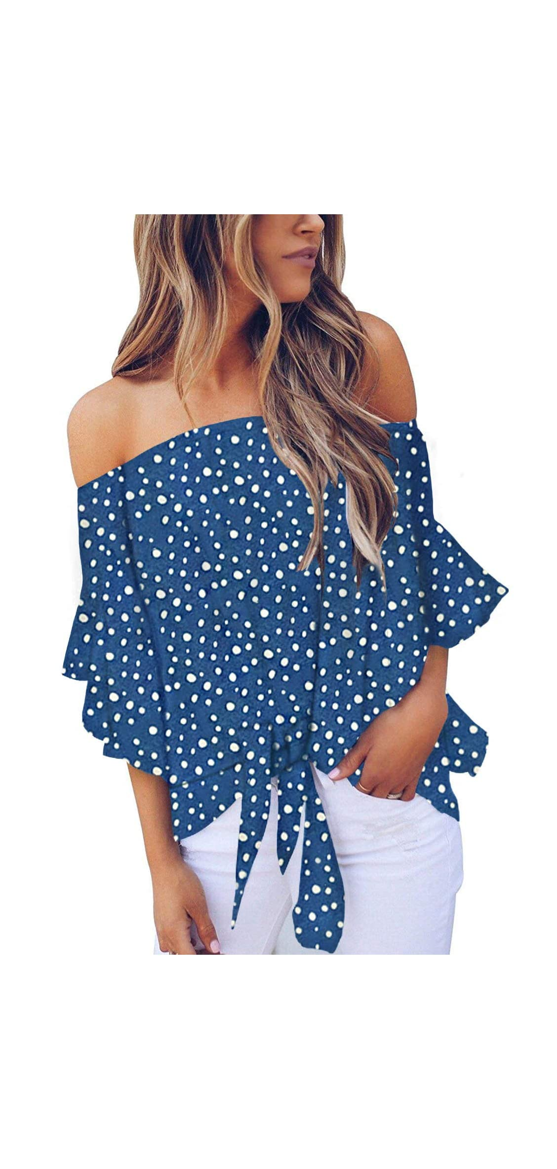 Womens Summer Floral Pinted Off The Shoulder Tops