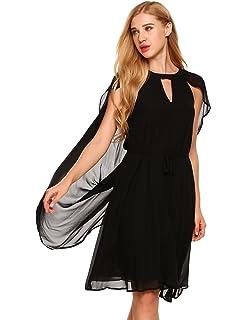 Zeagoo Lady Chiffon Sleeveless Little Cloak Summer Beach Cape A-Line Mini Shift Casual Dress