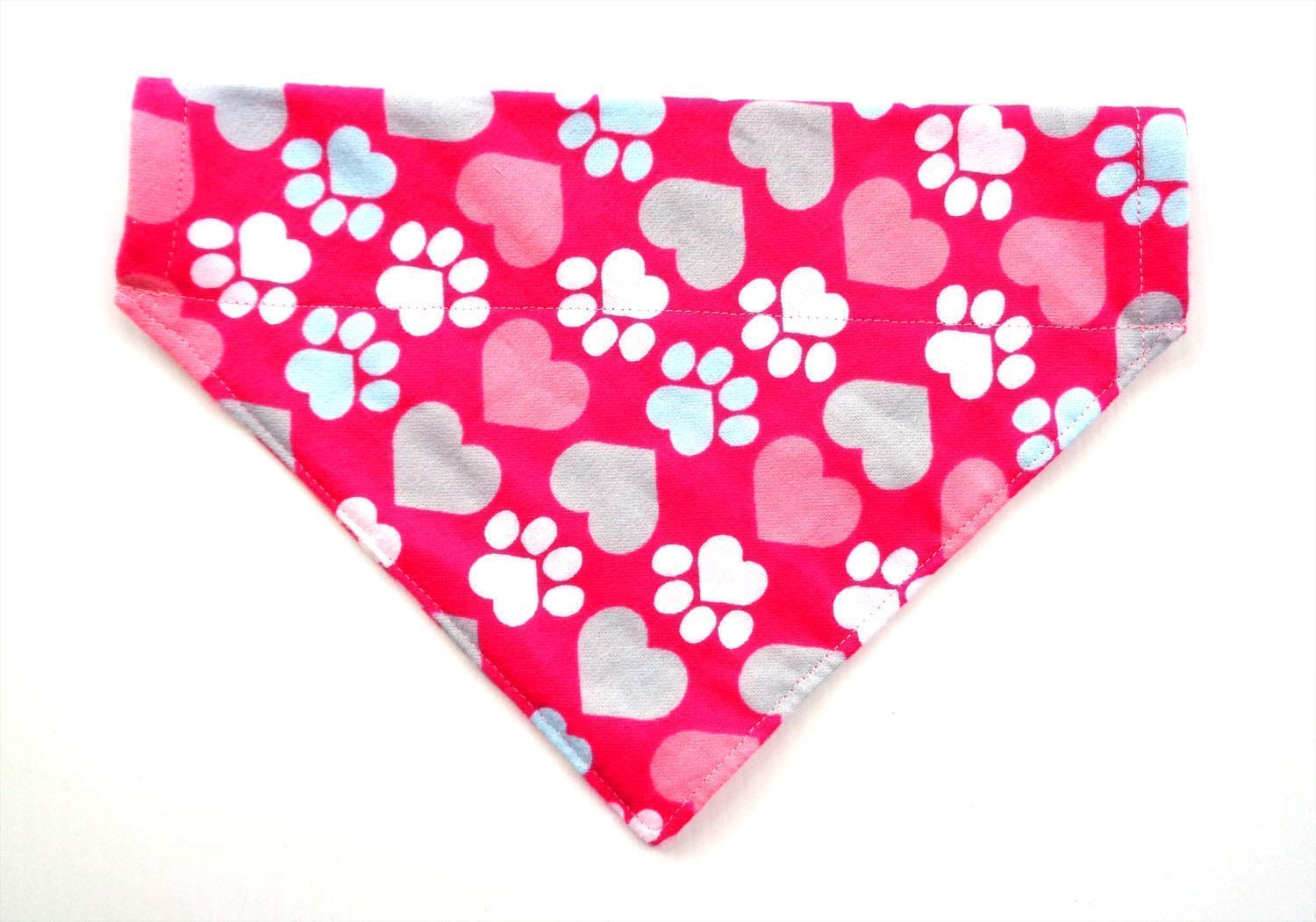 Valentines Day Pink and Red Hearts Over the Collar Dog Bandana Large