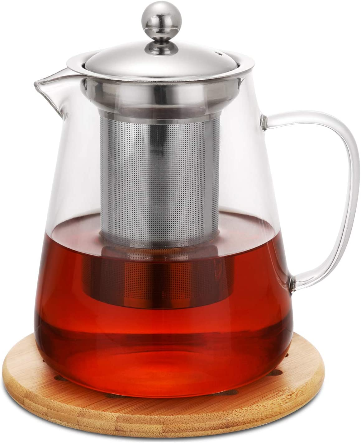 Amazon Com Hiware 32oz Stovetop Safe Glass Teapot With Removable Infuser Lead Free Glass Tea Kettle Tea Strainer Clear Tea Pot For Loose Leaf Tea Blooming Tea Tea Bags Coaster And